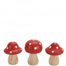 Wood fly agaric, 3 motives, H8cm, red turned
